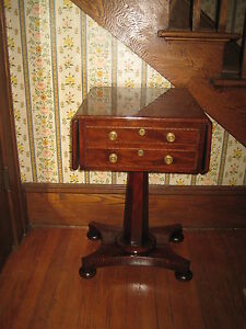 Antique End Side Table Inlaid Walnut Drop Leaf Table All Four Sides Finished