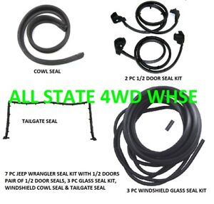 Rubber Weatherstrip Seal Kit Set For 1 2 Doors For 87 95 Jeep Wrangler 7 Pieces