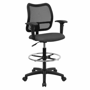 Mid back Mesh Drafting Stool With Dark Gray Fabric Seat