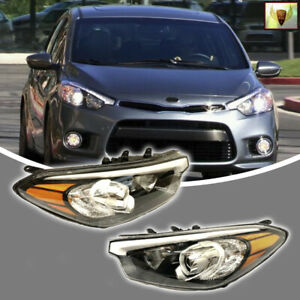Fits For 2007 2012 Toyota Yaris Sedan Headlights Black Housing Headlamp Set
