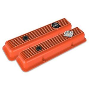 Holley 241 136 Muscle Series Valve Covers Sbc Factory Orange