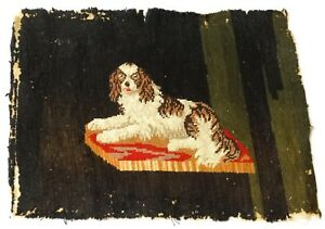 Antique 19th C King Charles Spaniel Needlepoint Tapestry Canvas