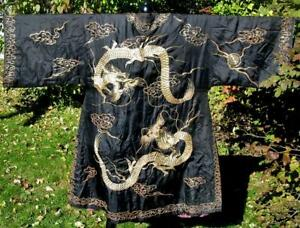 Antique Gumps San Francisco Chinese Embroidered Black Silk Dragon Robe Fabulous