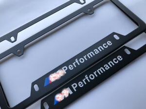 2pcs M Performance Logo Black Metal License Plates Frames Screw Caps For Bmw