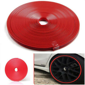 Wheel Tire Sticker Strip Red Line Hub Car Ring Rim Guard Rubber Ed