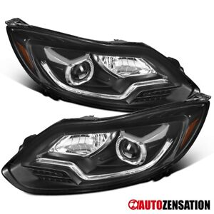 For 2012 2014 Ford Focus Black Projector Headlights Led Drl Signal Lamps