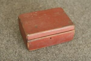 Primitive Antique Vintage Painted Wood Storage Box Possibly For Sharpening Stone