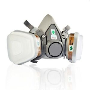 6200 Dual canister Gas Mask Chemical Filter Protection Mask Respirator Gray