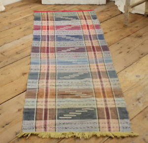 Rag Rug Vintage European Runner Colorful Striped Bathmat Carpet