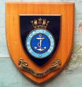 Old Vintage Sea Cadet Corps Painted Royal Navy Ship Badge Crest Shield Plaque