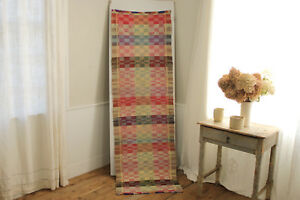 Colorful Rag Rug Vintage European Carpet Stair Runner 86 By 25 5 Inches Long