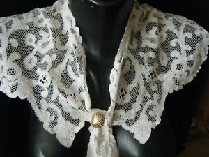 19c Antique Bertha Collar Milanese Scrolling Bobbin Tape Lace H Made Europe