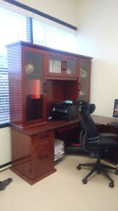 Used Office Furniture Executive Desk W Hutch And Credenza Cherry Wood