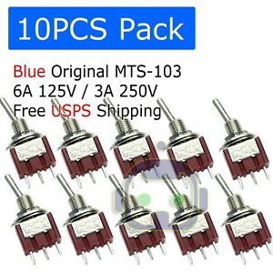 10 Pcs Mts 103 Latch Mini Toggle Switch 125vac 6a On off on 3 Positions Spdt M64
