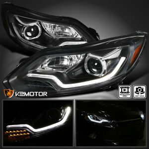 Black 2012 2014 Fit Ford Focus Led Signal Bar Projector Headlights Left right