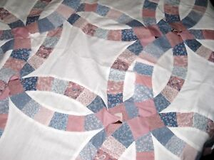 Vintage Lot Of Double Wedding Ring Quilt Blocks Pieces Instructions Extra Fabric