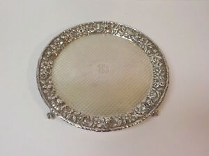 Kirk Repousse Sterling Silver 10 Footed Tray C 1896 1924 470 Grams