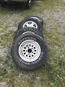 Used Set Of 4 Winter Tires With 15 Rims For Chevy 5 Lug Rear Tires W studs