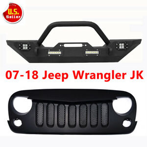 Front Bumper Grill Grille Combo Winch Plate D Rings For 07 18 Jeep Wrangler Jk R