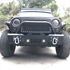 Rock Crawler Front Bumper W winch Plate led Lights Fit 07 19 Jeep Wrangler Jk A