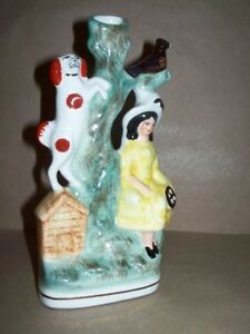 Mid 19th Century Staffordshire Spill Vase Lady Dog After Black Bird Tree Nr