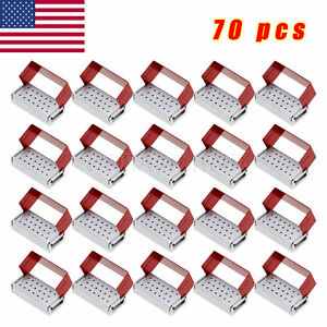 70x Dental Burs Holder Block Disinfection Box Aluminium 20 Hole Autoclave Metal
