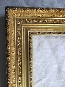 Antique Ca 1900 Large Ornate Gold Gilt Wooden Picture Frame 34 1 2 X 30