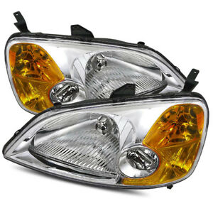 For 2001 2003 Honda Civic Coupe Sedan Chrome Crystal Headlights Replacement Set