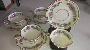 4 Lot Castleton Tree Of India Porcelain Coffee Tea Footed Cup Saucer
