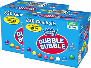 2 Boxes Of Dubble Bubble Assorted Gumballs 1in 850ct 15lbs free Shipping