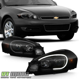 New Black Smoke 2006 2013 Chevy Impala Led Tube Projector Headlights Headlamps