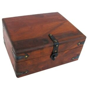 Vintage Antique Wood Writing Travel Desk Set Document Case Inkwell Storage Box