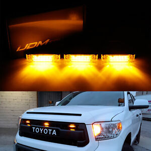 3pcs Amber Lens Led Grille Running Light Kit For 2014 Up Tundra W Trd Pro Grill
