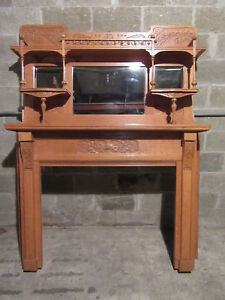 Tall 2 Piece Carved Oak Fireplace Mantel 60 X 76 Architectural Salvage