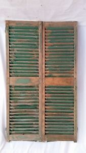 Antique C1880 Pair Wood Shutters Pegged Mortise Tenon 16 X 54 House Window