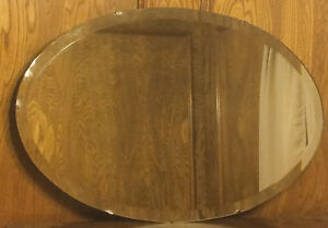 Nice Large Vintage 29 Oval Beveled Glass Mirror