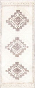 Muted Geometric Oushak Oriental Turkish Hand Knotted 2 X4 Ivory Wool Runner Rug