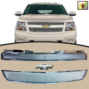 2007 2013 Chevrolet Tahoe Front Mesh Grill Upper And Lower Chrome Grille
