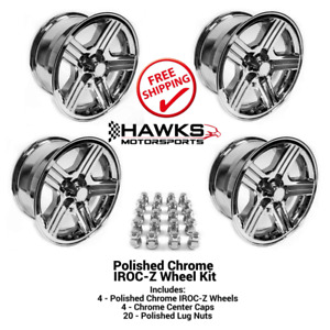 1988 1990 Camaro Iroc Z 17x9 Chrome Wheels Kit Lug Nuts Ht179irocz C Kit