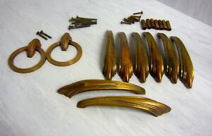 10x Vintage Brass Copper Dresser Drawer Pulls Handles Art Deco Waterfall 3502