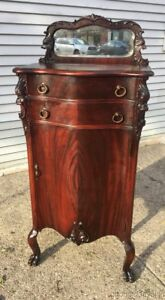 Antique Mahogany Ornate Sheet Music Cabinet W Carved Heads Beveled Mirror