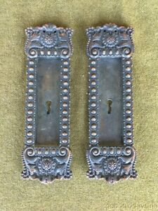 Antique Bronze Ornate Victorian Pocket Door Pull Door Backplate