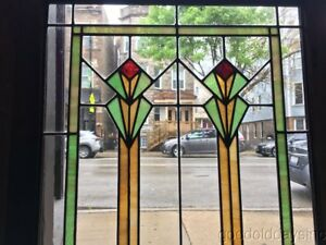 Antique Art Deco Stained Leaded Glass Window Cabinet Door 51 By 26