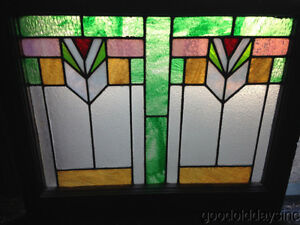 Beautiful Art Deco Stained Leaded Glass Window From Chicago 28 By 23
