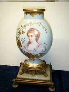 St Denis Antique French Porcelain Vase Hand Painted On Brass Stand