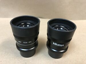 Pair Of Mitutoyo Wf 10x 24 Microscope Eyepieces 30mm Wide Focus