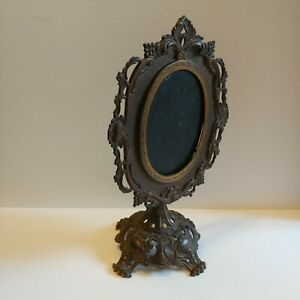 Lrg Antique Victorian Gilded Ornate Cast Iron Swivel Pedestal Frame Mirror 17 T