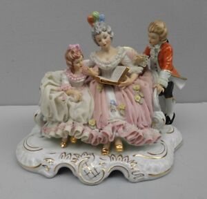 Vntg Gorgeous Large Dresden Porcelain Lace Figurine Mother W Children Reading
