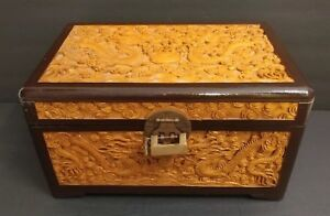 Antique Large Chinese Wood Carved Dragons Treasure Chest Box Detailed Carvings