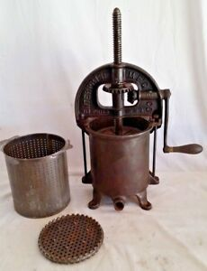 Antique Enterprise Cast Iron Sausage Meat Press Stuffer 8 Qt No 35 Wine fruit